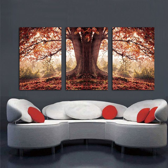 3 Panel Red Autumnal Leaves Home Decorative Canvas Painting Living