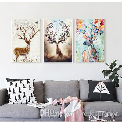 2019 Nordic Elk Decorative Painting Living Room Home Wall Hanging