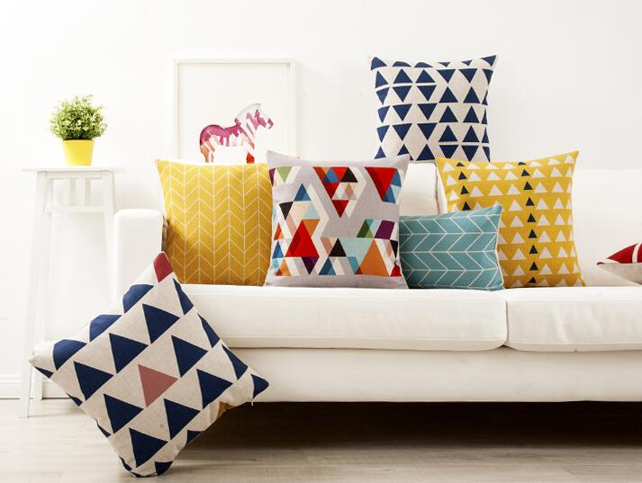 Colorful triangle throw pillows for living room, geometric