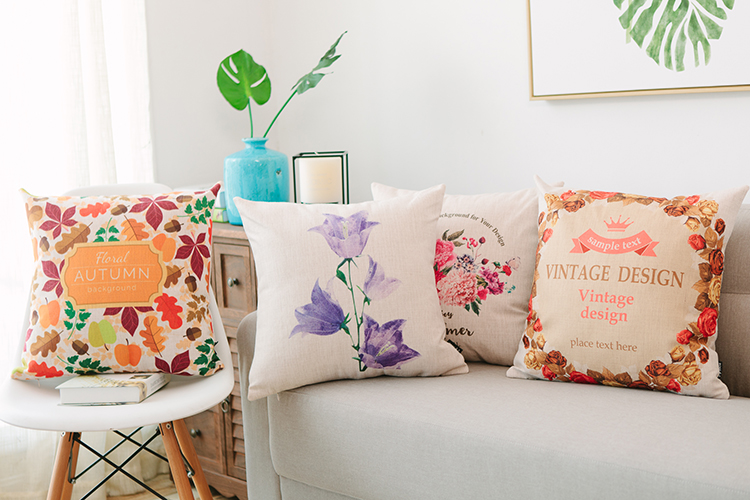 Colorful leaves decorative sofa pillows for grey couch purple flower