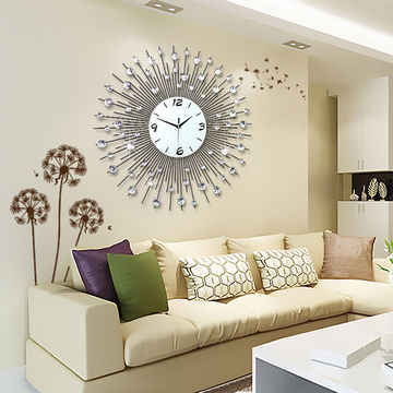 China Beautiful Large Crystal Wall Clock For Living Room Round Metal