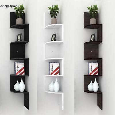 5 TIER WOODEN Corner Shelf Floating Wall Mount Storage Display Rack