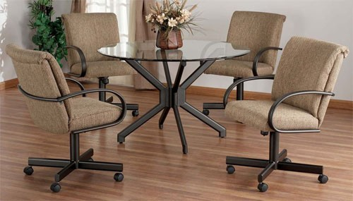 Upholstered Dining Chairs With Wheels Design Ideas Intended For 10