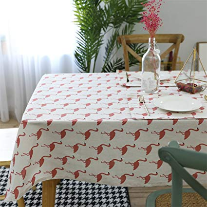 Amazon.com: Floralby Flamingo Pattern Rectangle Tablecloth Cotton
