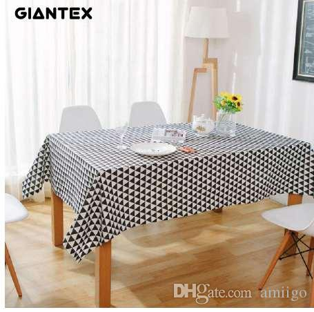 GIANTEX Triangle Pattern Decorative Table Cloth Cotton Linen
