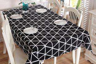Black White Chessboard Decorative Table Cloth Cotton Rectangle
