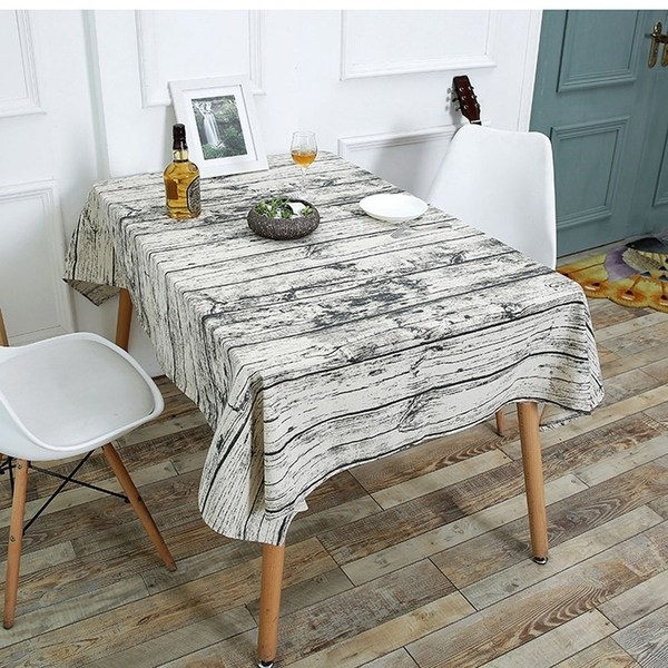 Wood Grain Pattern Table Cloth Cotton Linen Dining Table Cover For