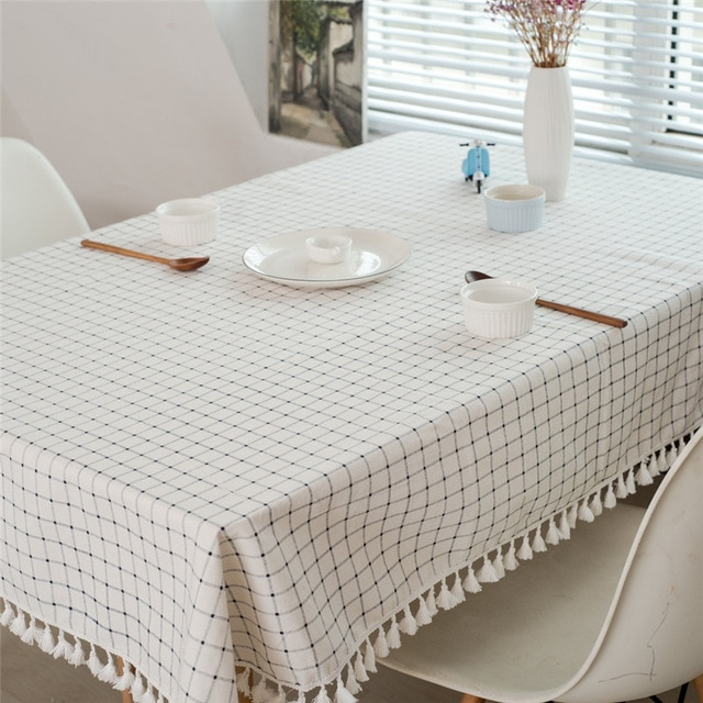 White Plaid Tassel Tablecloth Linen Cotton Printing Table Cloth