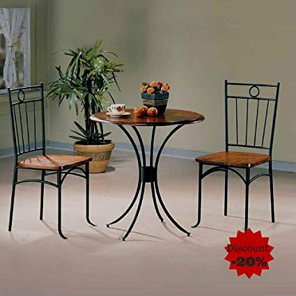 Amazon.com - Metal Dining Table Set Dining Table With 2 Chairs Round