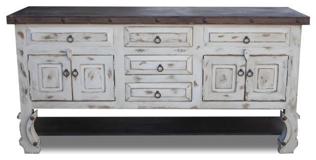White Farmhouse Rustic Vanity - Farmhouse - Bathroom Vanities And