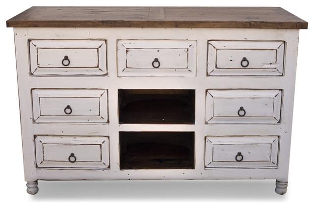 White Distressed Vanity - Farmhouse - Bathroom Vanities And Sink