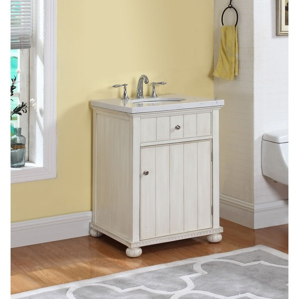 Shop Hampton Bath Vanity in Distressed White with Grey and White