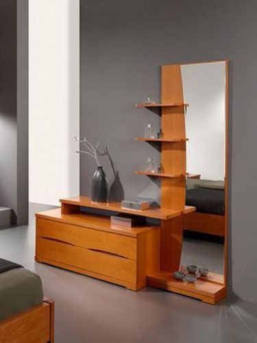 Layered dresser design, with a tall mirror sided with shelves and