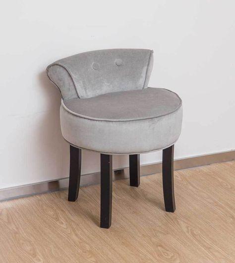Grey Velvet Chair Dressing Table Vanity Stool Black Legs Bedroom