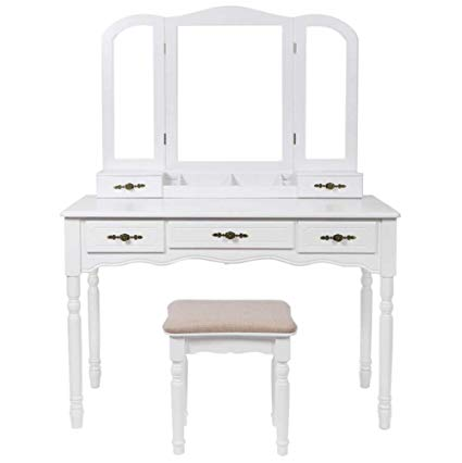 Amazon.com: AILOVE Modern Dressing Table, Wooden Makeup Table Mirror