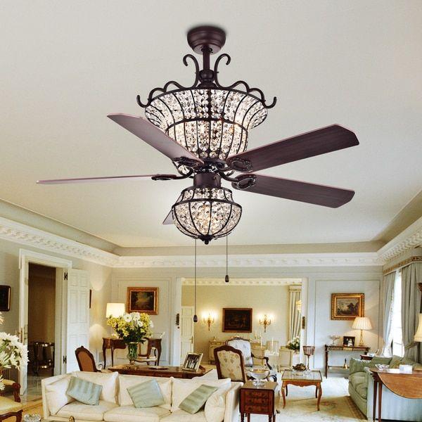 Charla 4-light Crystal 5-blade 52-inch Chandelier Ceiling Fan