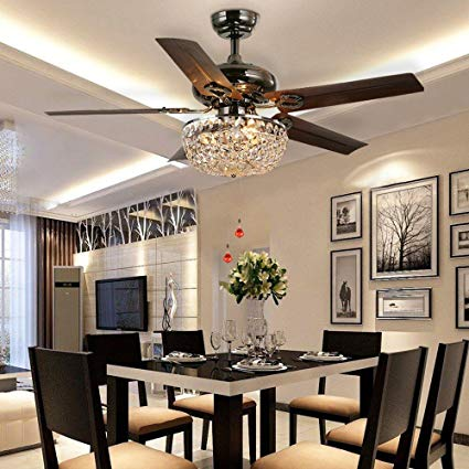 LuxureFan Retro Crystal Ceiling Fan Light with Elegant Crystal Cover