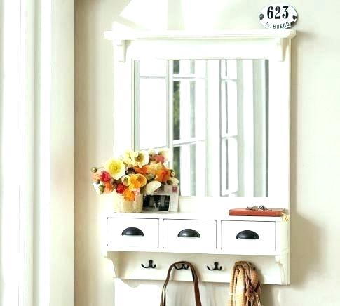 Entryway Hooks And Shelves Entry Mirror With Shelf And Hooks Wall