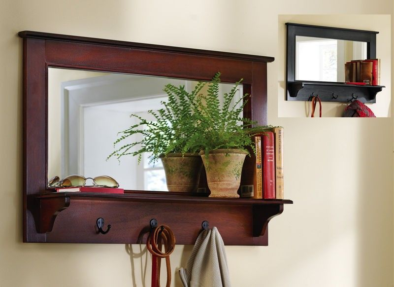 Large Entryway Wooden Wall Mirror Shelf and Coat Rack Walnut 35 NEW