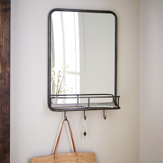 Entryway Mirror + Hooks | west elm