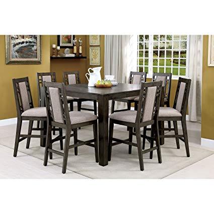 Amazon.com - Furniture of America Basson Rustic Grey 9-Piece