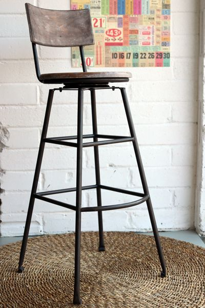 Aged Wood Tall Iron Bar Stool | House Ideas | Extra tall bar stools