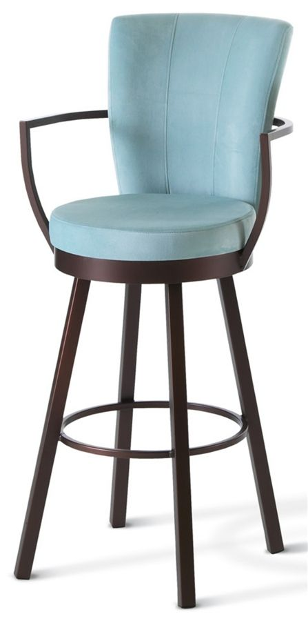 Cardin Swivel Stool w Wrap Arms and High Upholstered Back | Extra