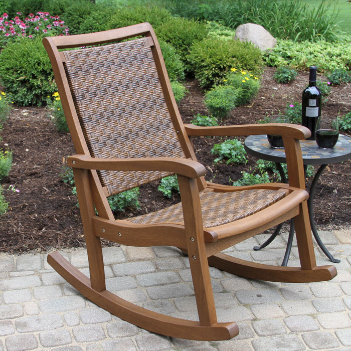 All-Weather Woven Wicker & Eucalyptus Outdoor Rocking Chair