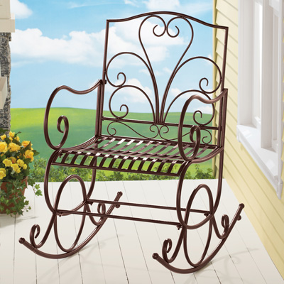Extra Wide Outdoor Metal Rocking Chair from Collections Etc.
