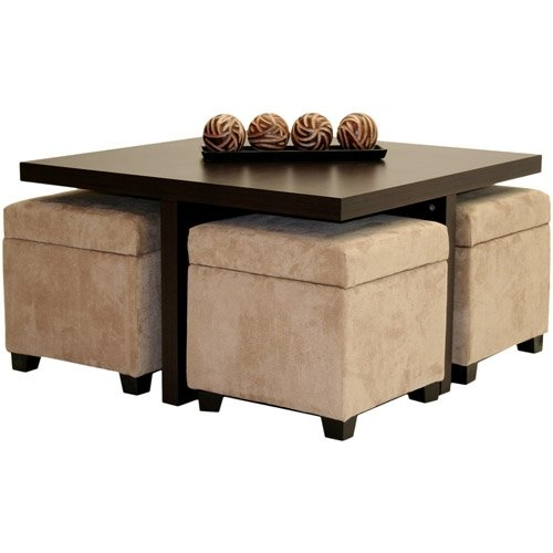 Coffee Table With 4 Storage Ottomans - Ideas on Foter