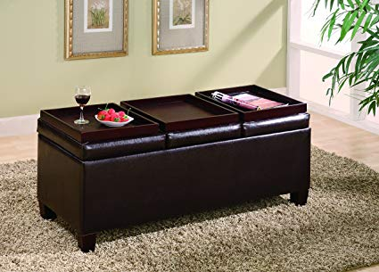 Amazon.com: Coaster Home Furnishings Storage Ottoman with Reversible