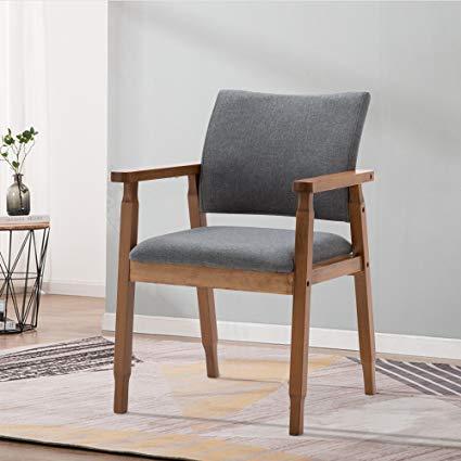 Amazon.com - Mid Century Modern Dining Chairs Wood Arm Gray Fabric