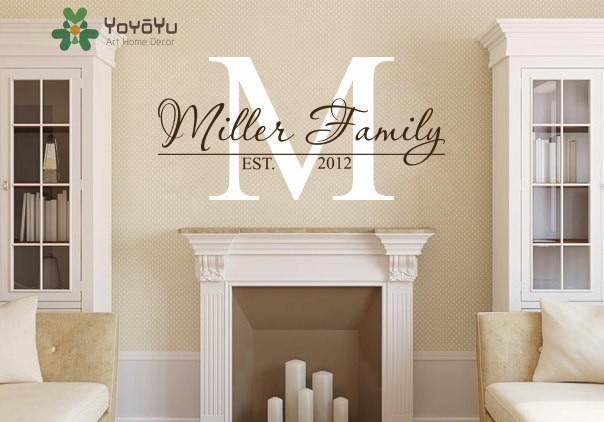 Family Name Personalized Monogram Wall Decal Living Room Decor