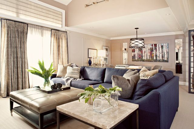 navy leather sofa decorating ideas - Google Search | Living Room
