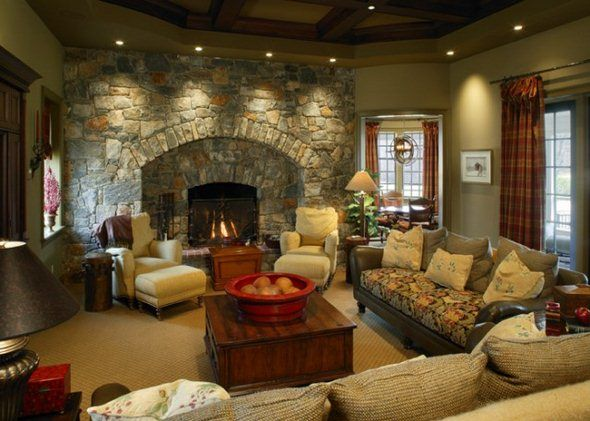 family room decorating ideas with fireplace |  with Colonial