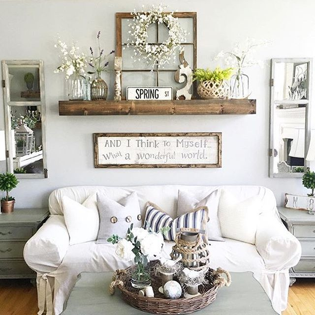 Rustic Wall Decor Idea Featuring Reclaimed Window Frames | Living