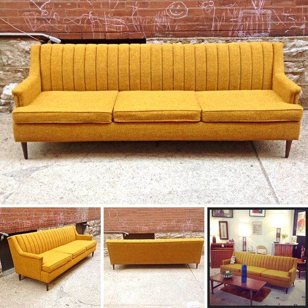 MidCentury #Danish Modern #Flexsteel #Sofa In #Yellow -Pricing