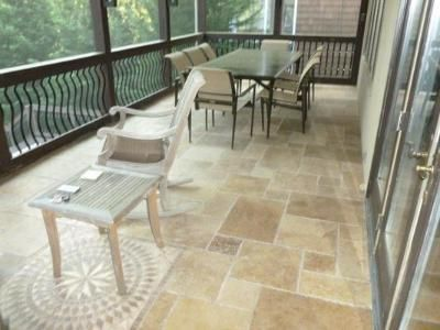 Travertine tile on screen porch floor | OUTDOOR Home Ideas! in 2019