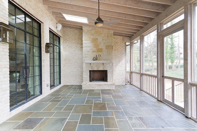Screened Porch w Fireplace - Transitional - Porch - Atlanta - by