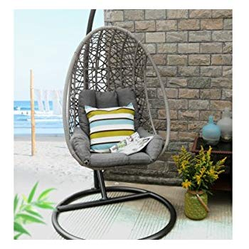 Baner Garden X25 Oval Egg Hanging Patio Lounge Chair Chaise Porch Swing  Hammock Single Seat Stand