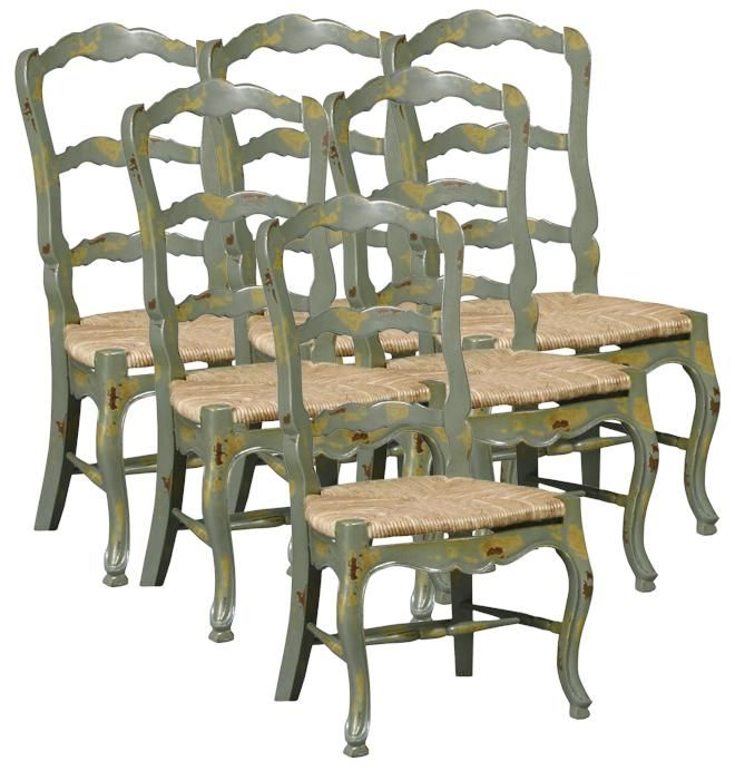 Set 6 new french country dining chairs, distressed green ladderback