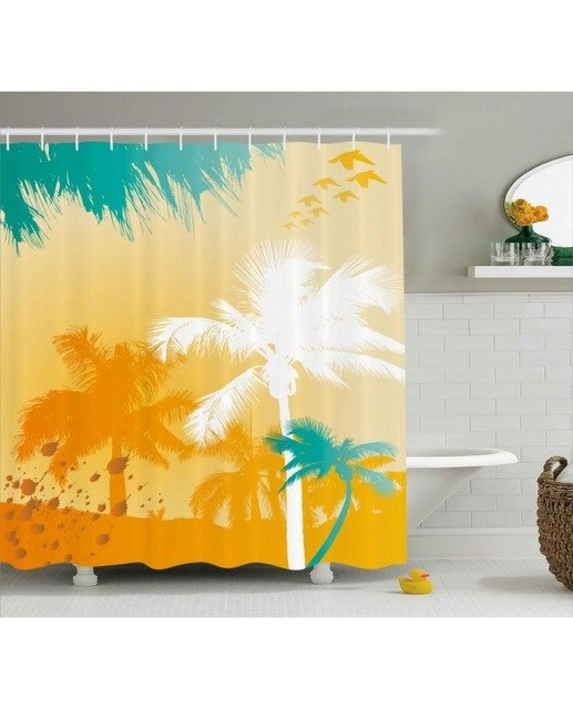 Tropic Shower Curtain Funky Retro Vivid Palms Print For