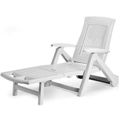 White Plastic Sun Lounger Patio Reclining Sun Bed Outdoor Deck Chair