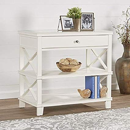 Amazon.com: Side Table with White finish and Glass Top Rectangular