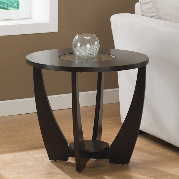 Stylish Espresso End Table with Shelf and Glass Insert