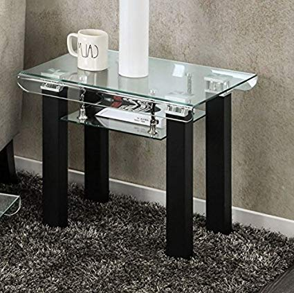 Amazon.com: Rectangular Glass End Table With Storage Area Side Table