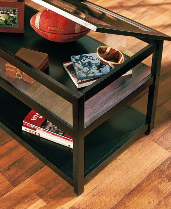 END TABLE Glass Top Display Table Lift Storage Rectangle Accent