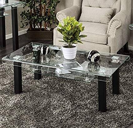 Amazon.com: Rectangular Glass Coffee Table With Storage Area Side