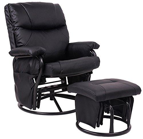 Buy Black Pu Leather Nursing Glider Rocker Recliner and Ottom Swivel