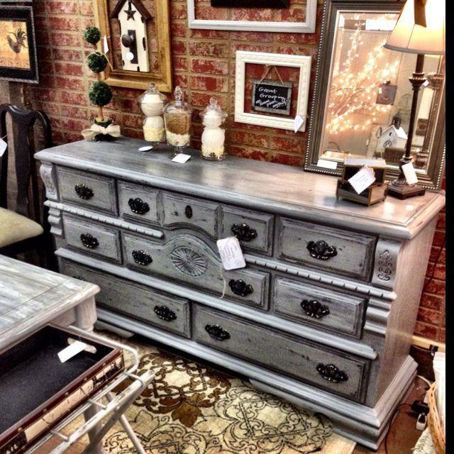 Dark gray distressed glazed dresser. | make it in 2019 | Pinterest